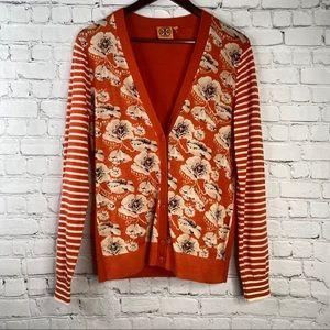 TORY BURCH Orange Floral Striped Button Cardigan L